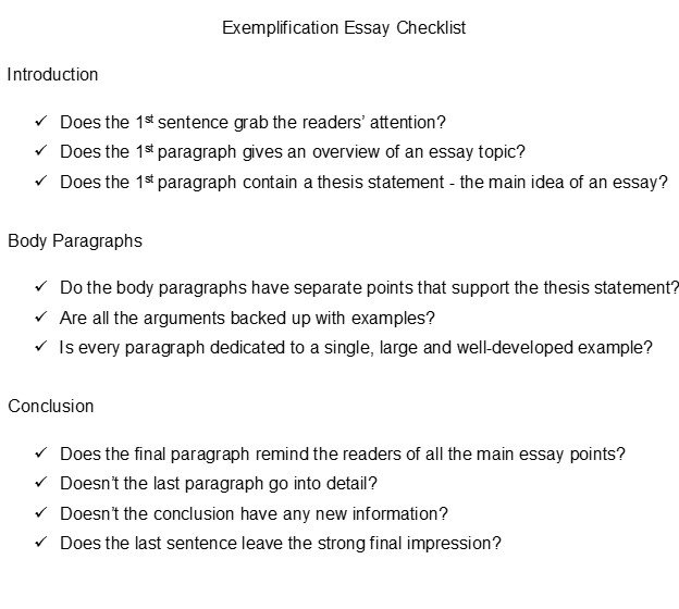exemplification essay checklist