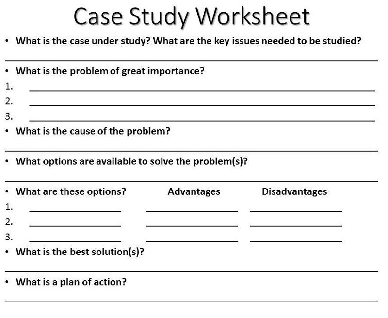 case study worksheet